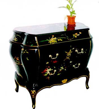 Lacquer Furniture Hand Painted On Black Lacquer Cabinet